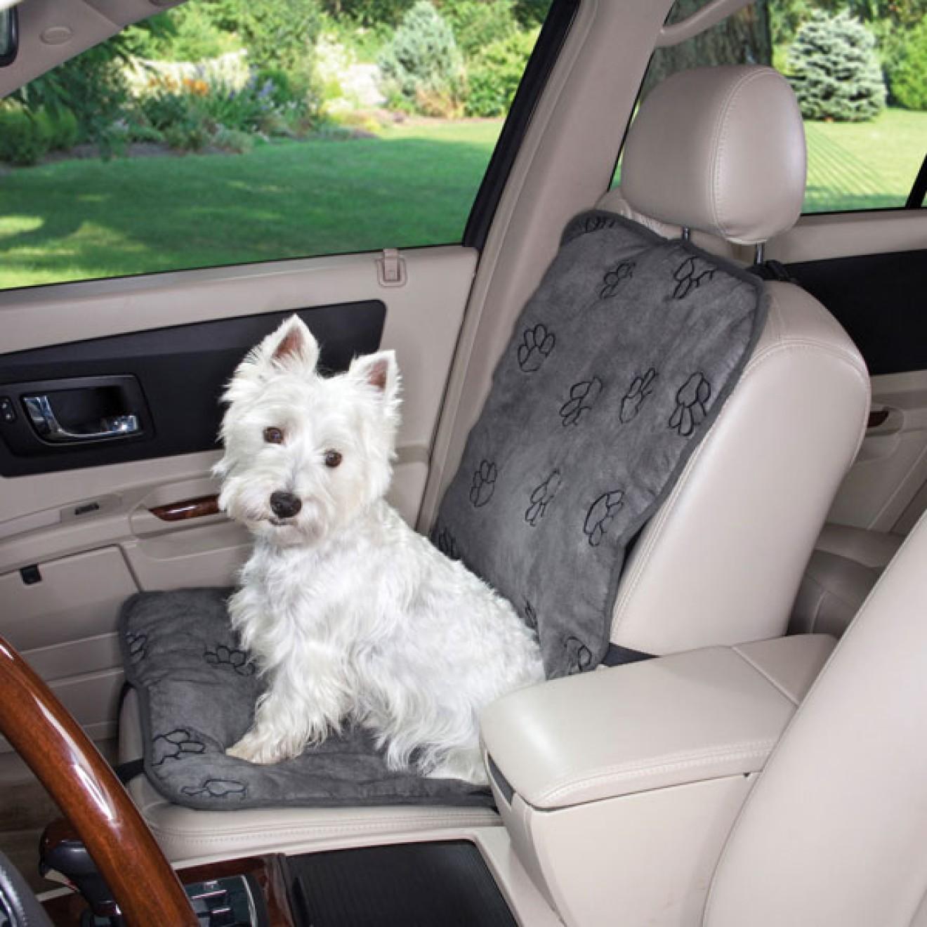 autositz schonbezug f r hunde mit tatzenstickerei grau. Black Bedroom Furniture Sets. Home Design Ideas