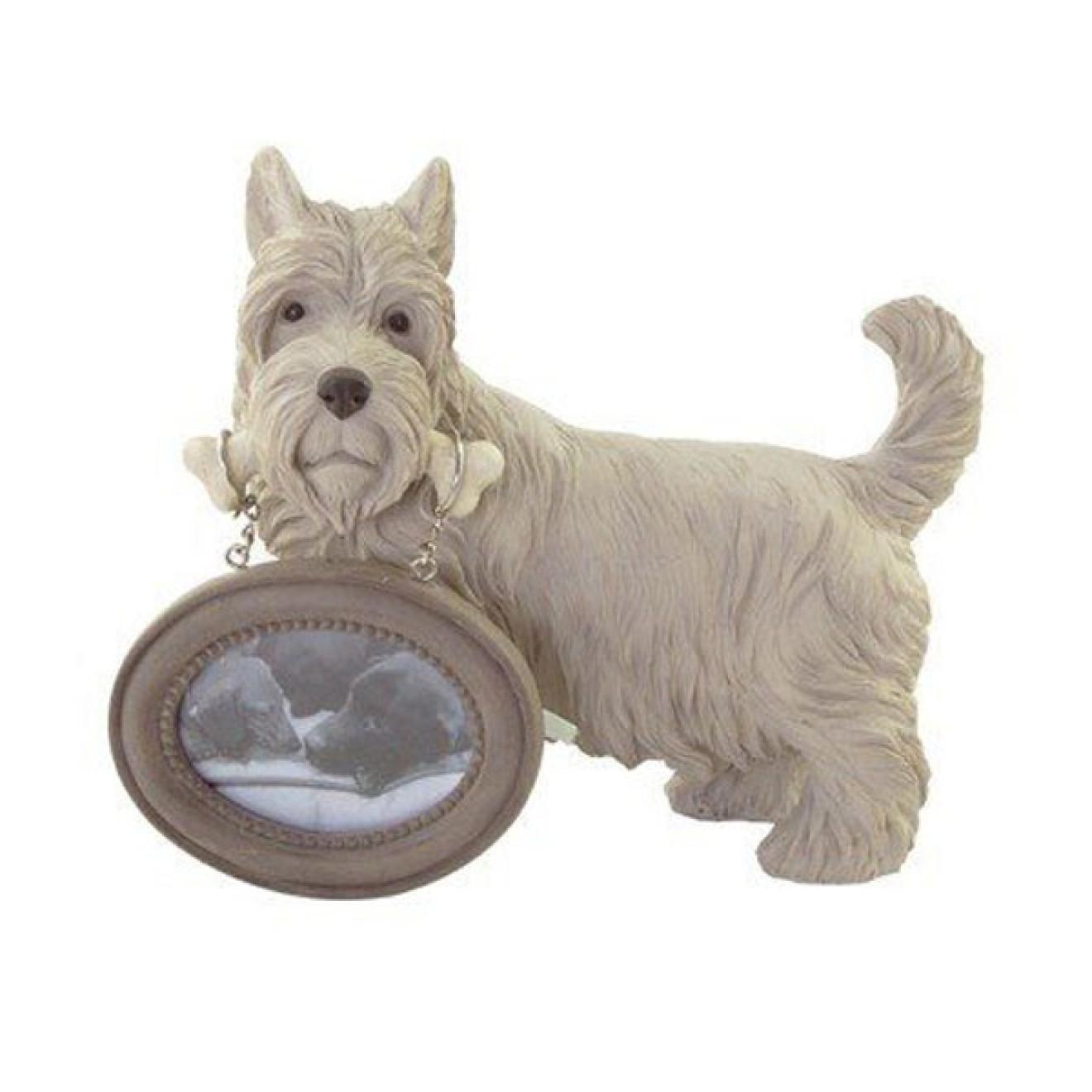 Terrier-Figur mit Bilderrahmen, Fotorahmen Hundemotiv