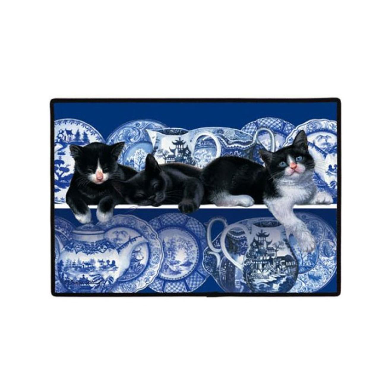 katzen fussmatte blaues design fussmatte katzenmotiv. Black Bedroom Furniture Sets. Home Design Ideas