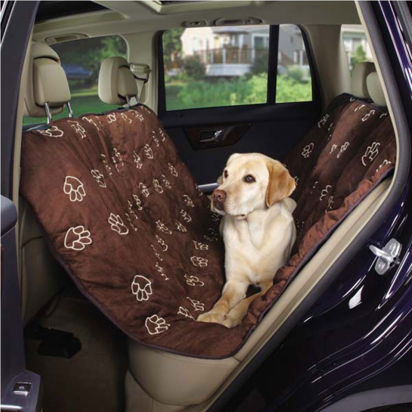 hunde autoschondecke mit pfotenstickerei schoko r cksitz schondecke. Black Bedroom Furniture Sets. Home Design Ideas