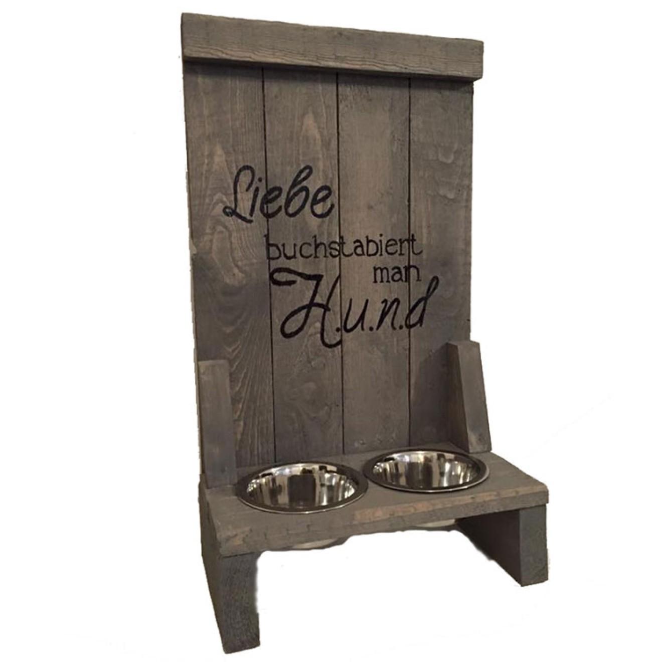 holz doppelnapfst nder liebe grau hunde futterstation shabby. Black Bedroom Furniture Sets. Home Design Ideas