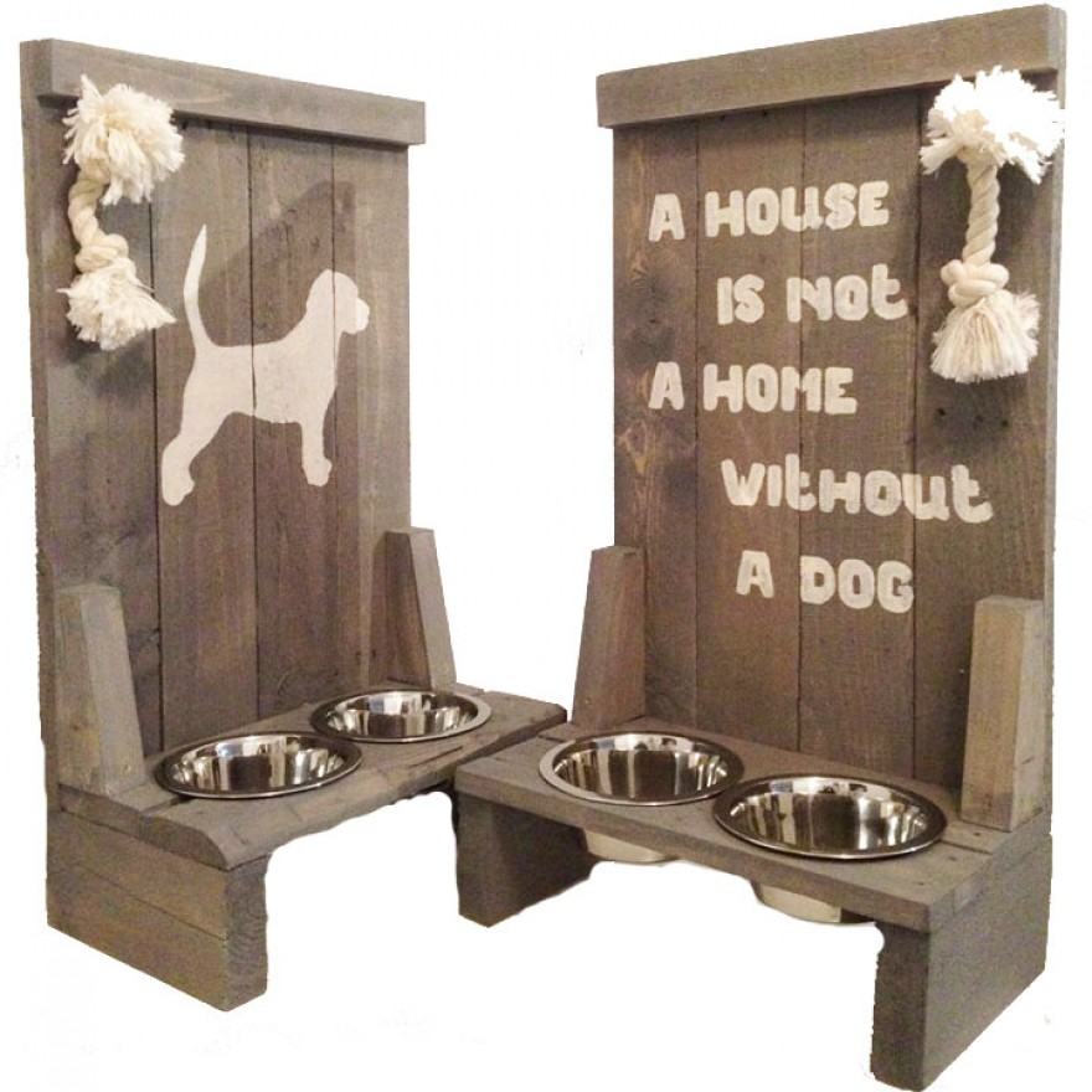holz doppelnapfst nder mit hund oder spruch grau hunde. Black Bedroom Furniture Sets. Home Design Ideas