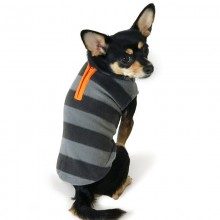Fleece-Hundepullover grau/orange mit Zipper - neue Kollektion aus NYC