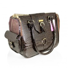 Hundetasche Luxury Croc Brown