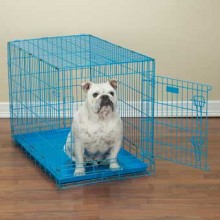 Hundetransportbox Metall blau 45 x 30 x 38 cm