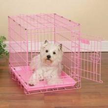 Hundetransportbox Metall rosa