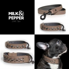 Milk & Pepper Set Hundehalsband & Leine ZAK TAN 35, 50 cm