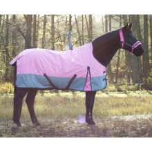 Regendecke Cozy Winter High Neck 200 g 600 d rosa-grau für Pferde